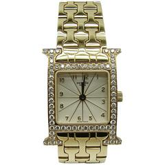 Hermes Lady's Yellow Gold Diamond Heure H Quartz Wristwatch