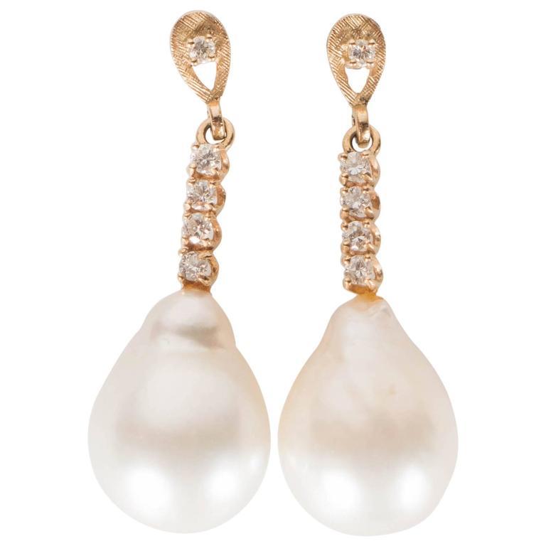 Hanging Pearl Diamond Gold Drop Earrings 1