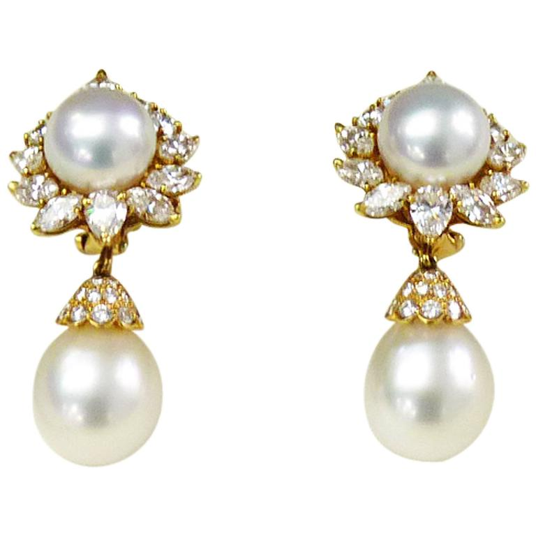 Van Cleef & Arpels Pearl Diamond 18 Karat Yellow Gold Earrings For Sale