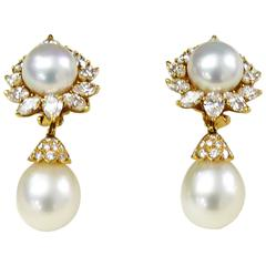 Van Cleef & Arpels Pearl Diamond 18 Karat Yellow Gold Earrings