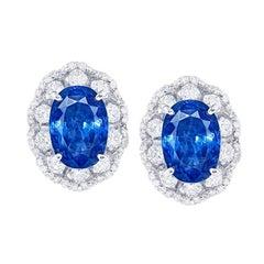 Emilio Jewelry GRS Certified 7.81 Carat Royal Blue Ceylon Sapphire Earrings