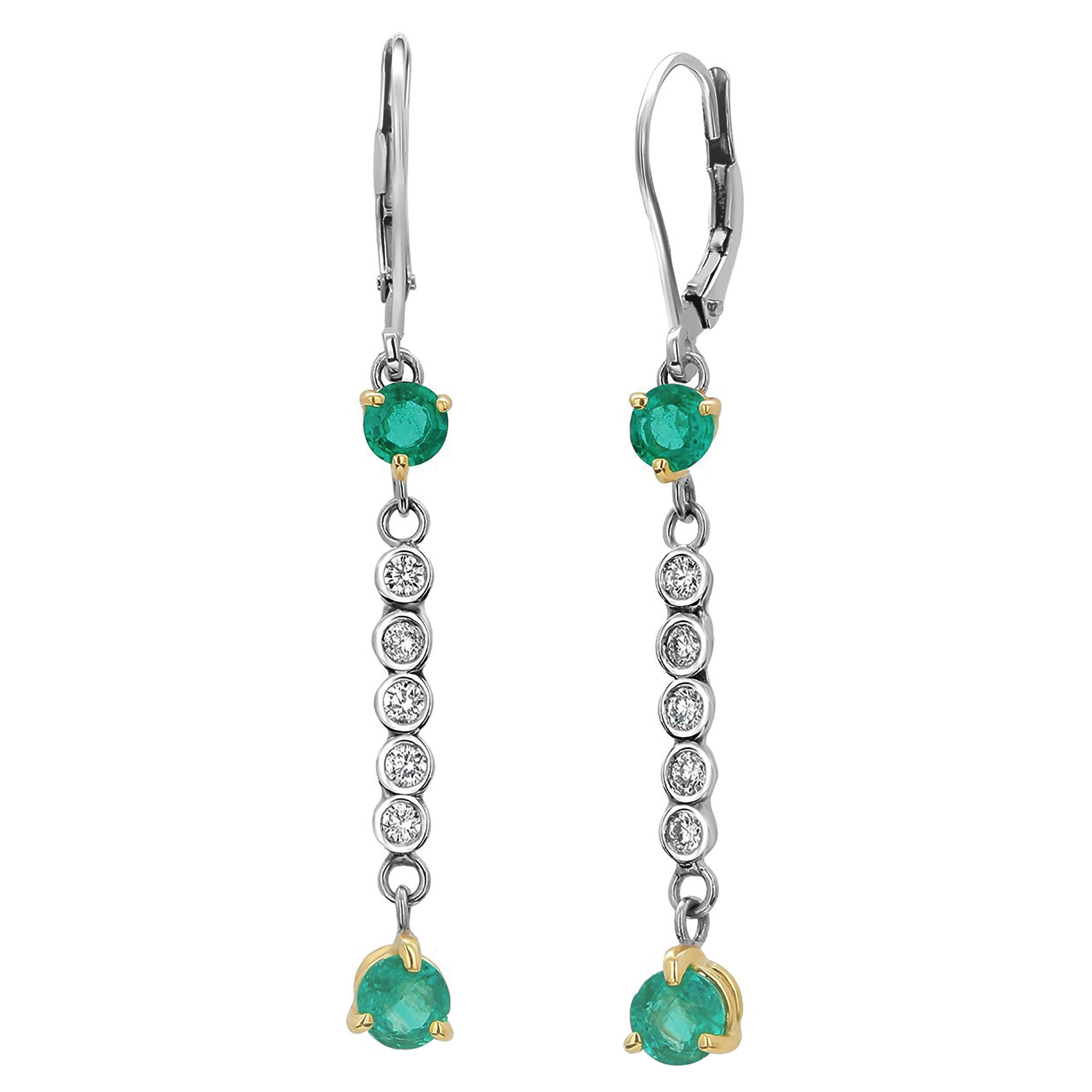 Emerald and Diamond White Gold Drop Hoop Earrings