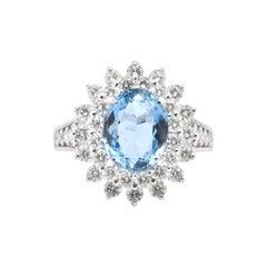 2.46 Carat, Natural, Santa-Maria Aquamarine and Diamond Ring Set in Platinum