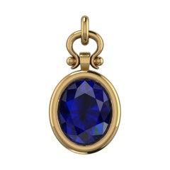 Berberyn Certified 3.01 Carat Oval Cut Blue Sapphire Pendant Necklace in 18k