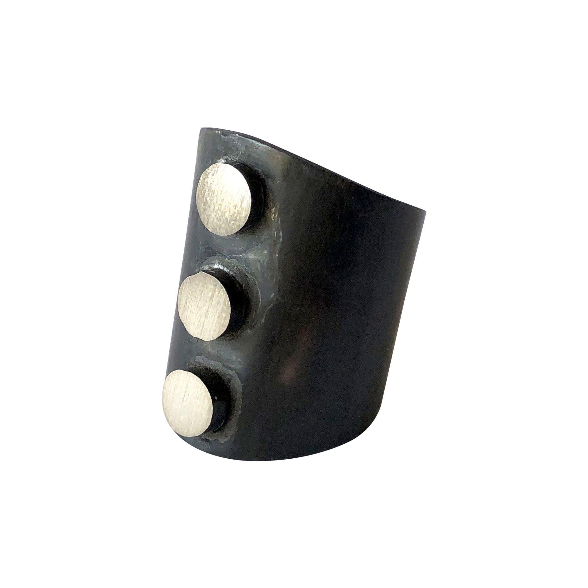 Heidi Abrahamson Oxidized Sterling Silver Post Modern Three Dot Gentlemens Ring