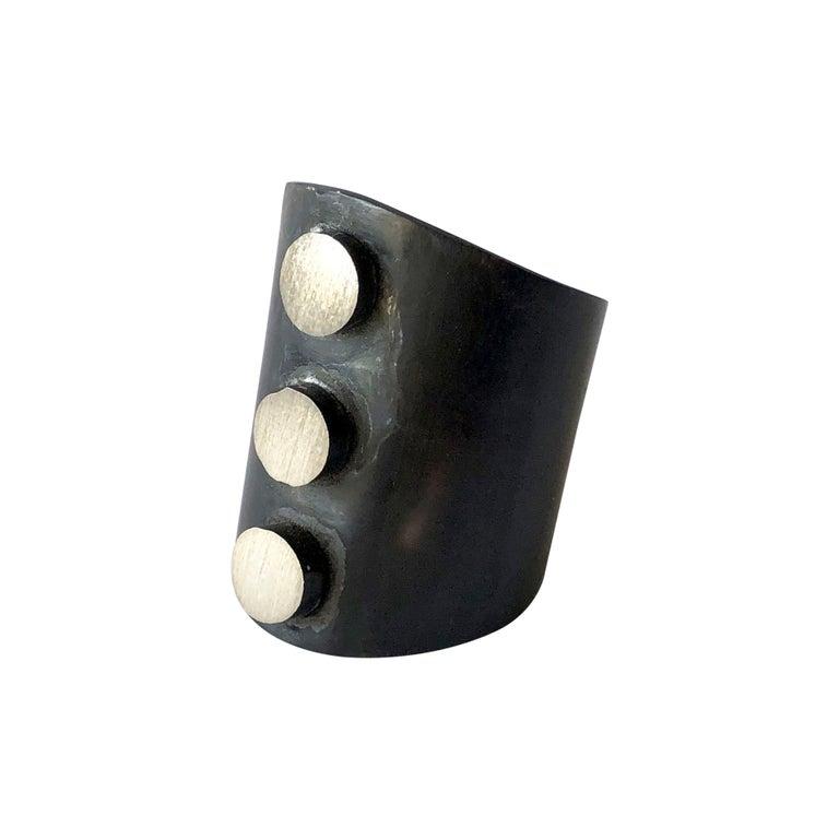 Heidi Abrahamson Oxidized Sterling Silver Post Modern Three Dot Gentlemens Ring For Sale