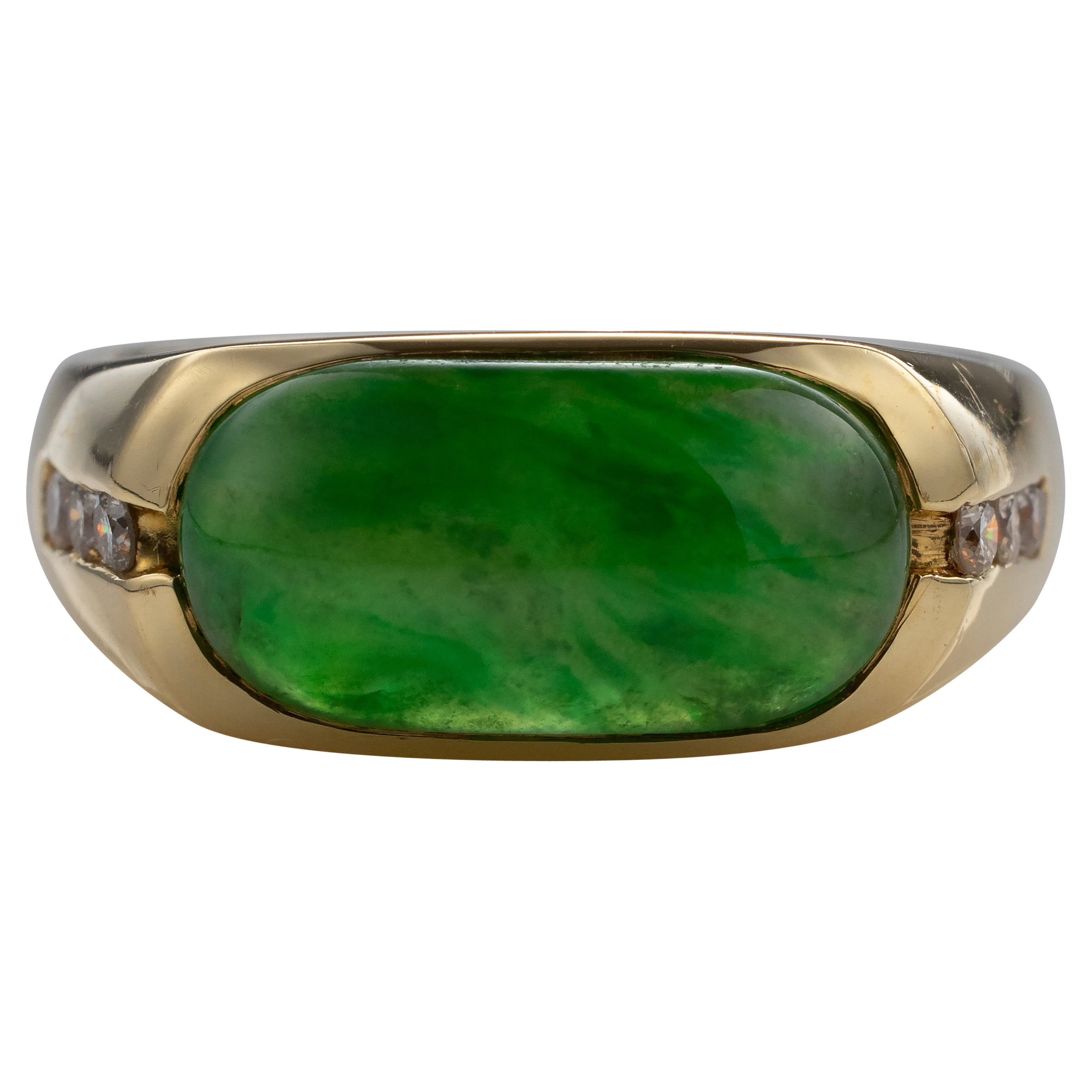 Jadeite Jade Ring with Diamonds Certified Untreated Emerald Green