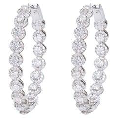 18 Karat White Gold 5.17 Carat Brilliant-Cut Diamond Cluster Hoop Earrings