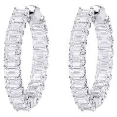18 Karat White Gold 13.29 Carat Diamond Emerald-Cut Solitaires Hoop Earrings