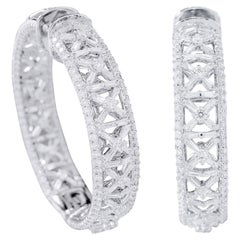 18 Karat White Gold 4.70 Carat Diamond Hoop Earrings