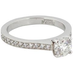 0.74 Carat GIA Cert Diamond Platinum Engagement Ring