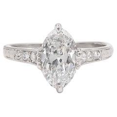 Edwardian Era 1.67 Carat GIA Certified E/VS1 Moval Cut Diamond Engagement Ring