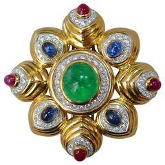 David Webb Multi Color Gem Diamond Gold Brooch
