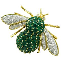 Emerald and Diamond 18 Karat Bee Brooch