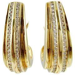 Half Hoop Diamond Gold Earrings