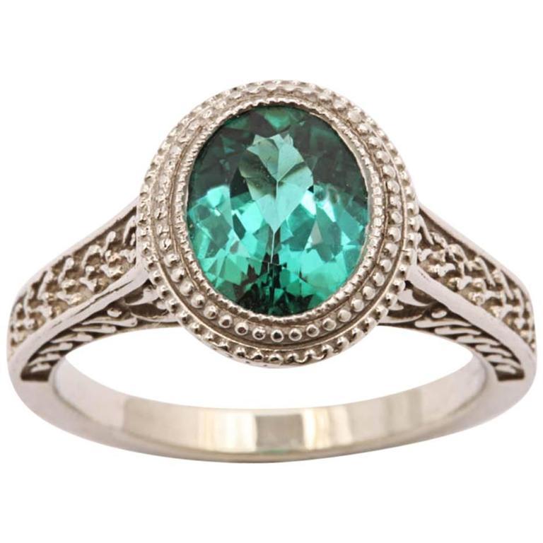 Stunning Blue Green Tourmaline Gold Ring