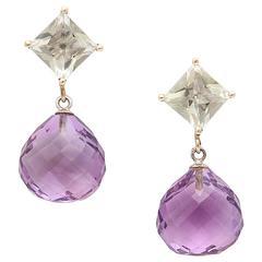 Stunning Green and Purple Amethyst Drop Earrings