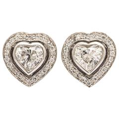 Gorgeous Heart Shaped Diamond and Platinum Earrings