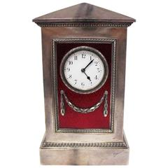 Faberge Silver and Guiloche Enamel Table Clock