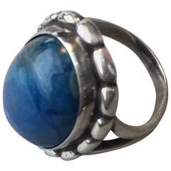 Georg Jensen Lapis Lazuli Sterling Silver Ring No. 19