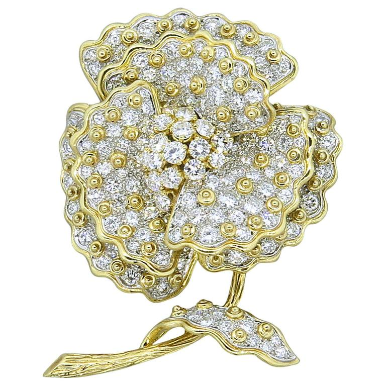 1950s Magnificent Diamond Gold Pansy Flower Brooch Pin