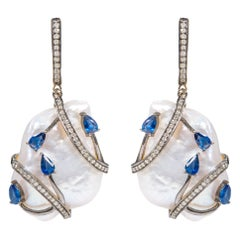 96.44 Carat Baroque Pearl, Sapphire, and Diamond Drop Earrings in Art Deco Style