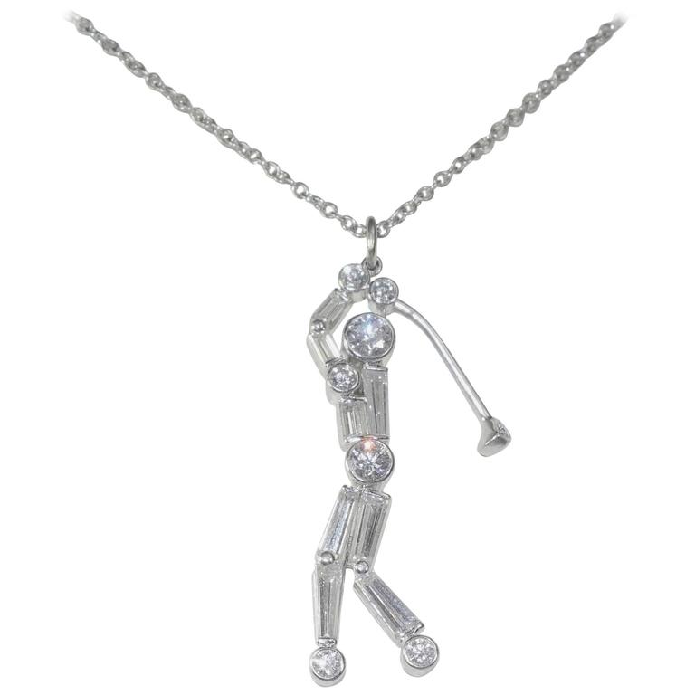 Fancy Diamond Platinum Golfer Pendant 1