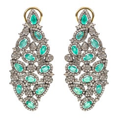Emerald and Diamond Cocktail Leaf Earrings in Victorian Style