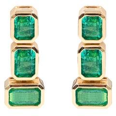 18 Karat Yellow Gold 6.53 Carat Natural Emerald-Cut Emerald Dangle Earrings