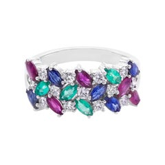 Multiple Gemstones Blue Sapphire, Ruby, Emerald and Diamond Three Rows Ring