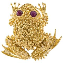 Ruby Gold Toad Brooch