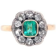Antique Emerald Old European Cut Diamond 14 Karat Gold Cluster Ring