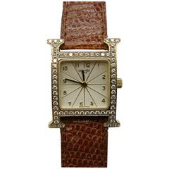Hermes Ladies Yellow Gold Diamond Heure H Quartz Wristwatch