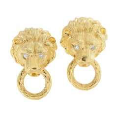 Van Cleef & Arpels Diamond Yellow Gold Lion Head Door Knocker Earrings