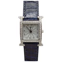 Hermes Lady's White Gold Heure H Diamonds Quartz Wristwatch