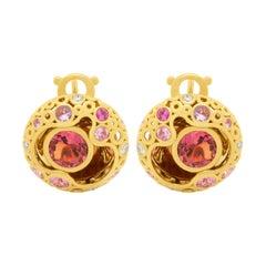 Pink Tormaline 2.65 Carat Sapphires Diamond 18 Karat Yellow Gold Bubble Earrings