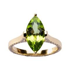 Alex Jona Marquise Cut Peridot Light Brown Diamond Yellow Gold Solitaire Ring