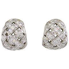 Tiffany & Co. Vannerie Diamond Platinum Basket Weave Earrings