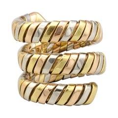 Bulgari Tubogas Three Color Gold Flexible Snake Ring
