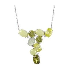 Italian Collection 18 Karat Gold Diamond and Lemon Citrine Pendant Necklace