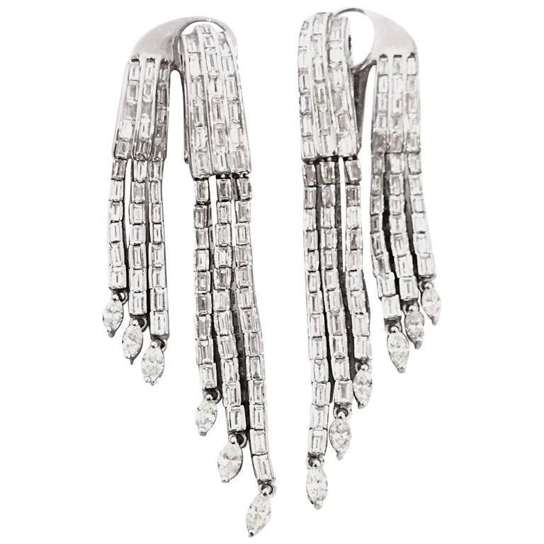 1980s diamond gold dress earrings
