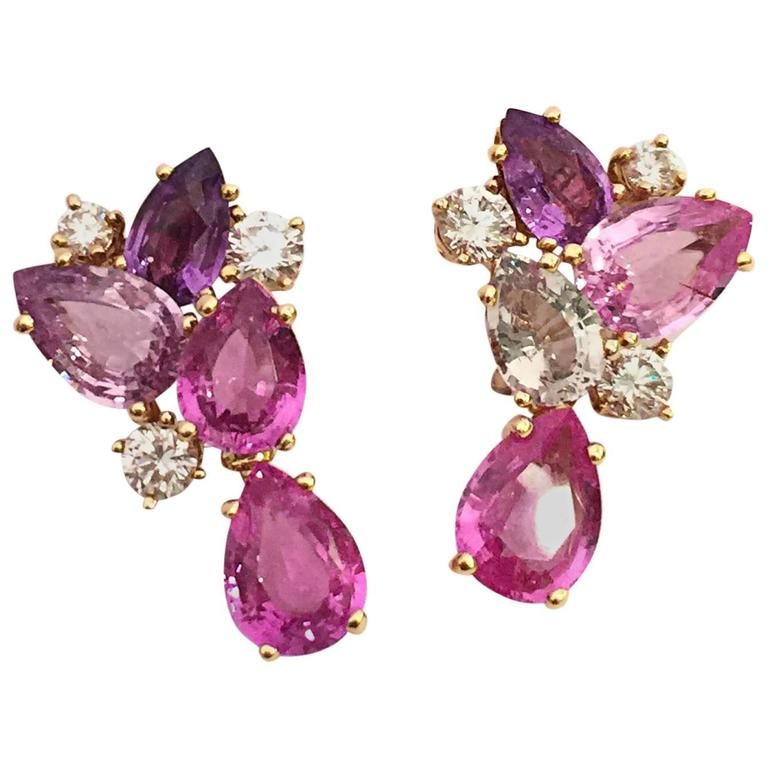 Bulgari Sapphire Diamond Gold Flora Earrings For Sale