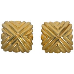 Cartier Square Ribbed Gold Earrings