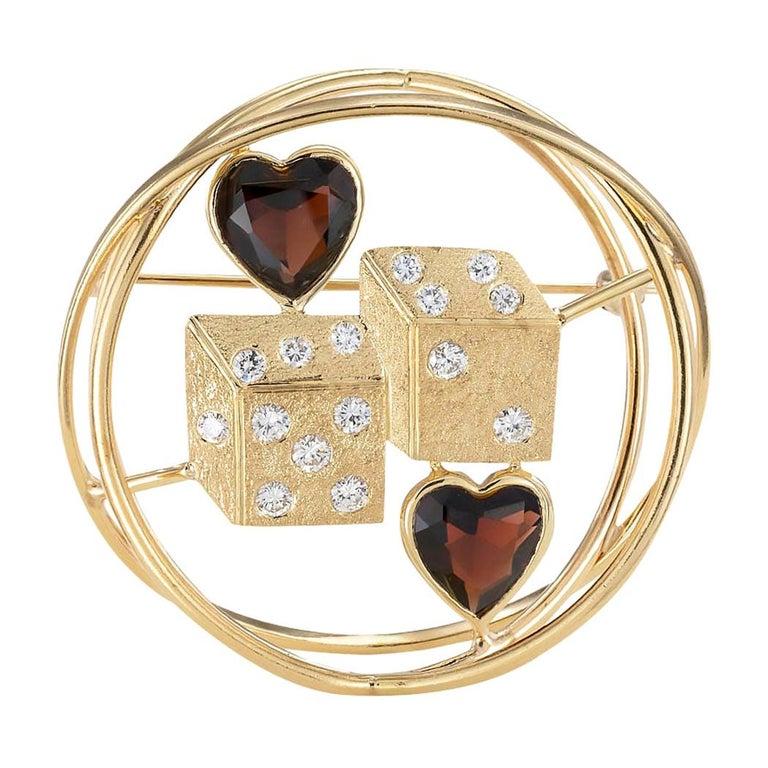 Ruser Garnet Diamond Yellow Gold Dice Brooch For Sale