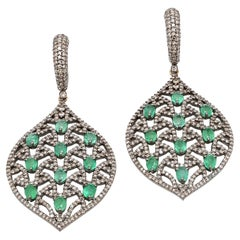 Emerald and Diamond Leaf Dangle Earring in Victorian Style