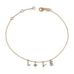 Love Anklet with White Diamond in 14k Rose Gold