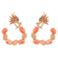 Melusine Coral Hoop 14k Rose Gold Earrings with Diamond