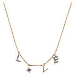 Love Necklace with White Diamond in 14k Rose Gold