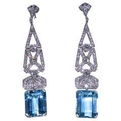 French Art Deco Aquamarine Diamond Platinum Pendant Earrings