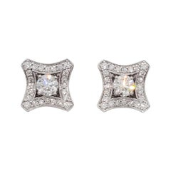 Estate White Diamond Stud Earrings in 14k White Gold